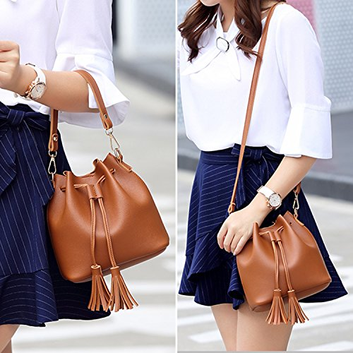 Carry Notag Tassel Bag Shoulder To 3 Brown Shoulder Woman Leather Bucket Pu Shapes Bag vHqwdCaH