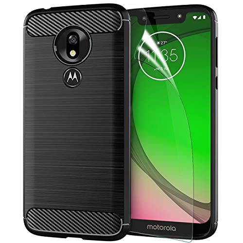 Motorola Moto G7 Play Case 2019 with Screen Protector,Motorola Moto G7 Play TPU Phone Case Skin 5.7,Carbon Fiber Brushed Soft Slim Anti-Scratch Anti-Slip Rubber Bumper Protective Case Cover-Black