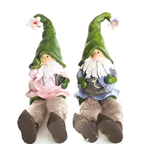 Delton 6.3 Inches Resin Dangle Leg Gnomes,Set Of 2