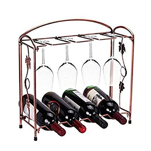 Miniway 4 Wine Bottles / 8 Wine Glasses Countertop Bronze Stainless Steel Tabletop Wine Glass Drying Folding Rack Stand Gift by Miniway