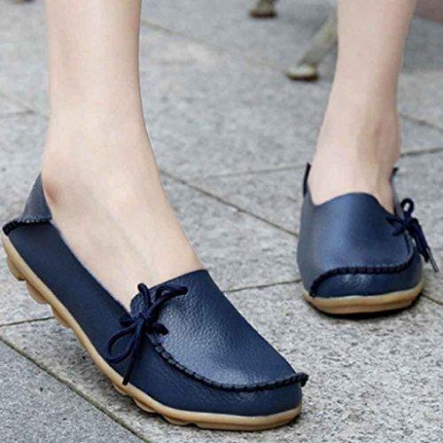 Ularma Zapatos de cuero de mujer, suave ocio pisos mocasines casuales mujer azul oscuro