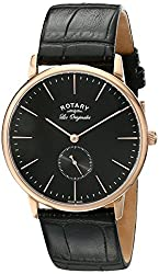 Rotary Men's gs90053/04 Analog Display Swiss Quartz Black Watch