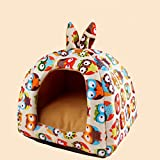 owl kids humidifier - KAKA(TM) Pets Cute Warm Soft Canvas Fold Bed Dogs Cats Sleeping House Owl Pattern Thick Mat L