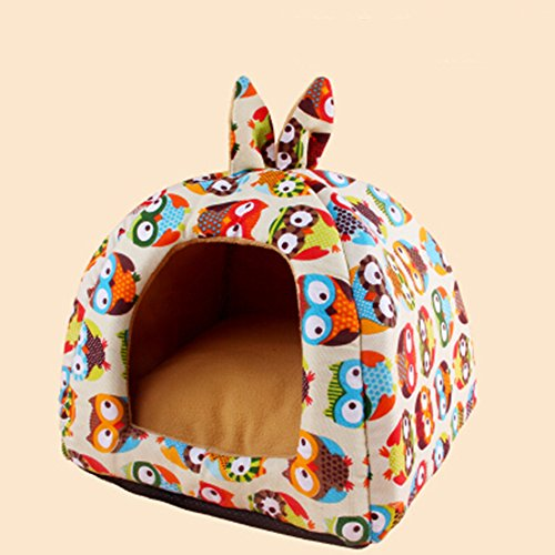 Beetle Pet Sofa - KAKA(TM) Pets Cute Warm Soft Canvas Fold Bed Dogs Cats Sleeping House Owl Pattern Thick Mat S