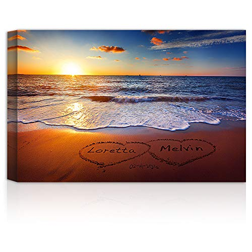 (Love on Beach Heart in Heart - Personalized Canvas Prints Artwork with Couple's Names and Date on, Perfect Love Gift for Anniversary,Wedding,Birthday and Holidays.)