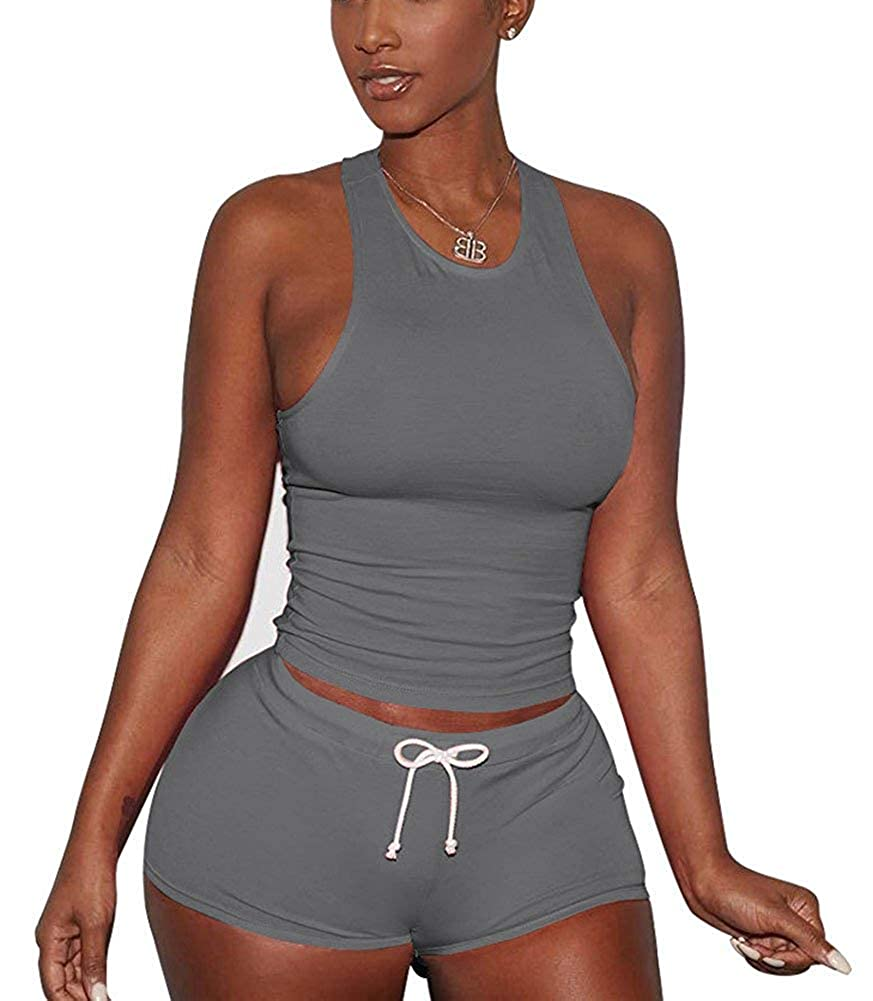 Grey Mojessy Women's Short Sleeve Shirt Lace up 2 Piece Outfits Crop Top+Shorts Set