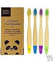 Bamboe tandenborstel voor kinderen | Vier kleuren | Zachte vezelharen | 100% biologisch afbreekbaar handvat | BPA vrij | Veganistische en milieuvriendelijke kindertandenborstels van Wild & Stone