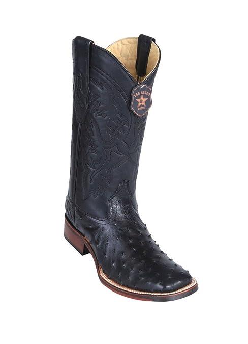 Mens Wide Square Toe Genuine Leather Ostrich Skin Western Boots  B01N0XJ7ZG