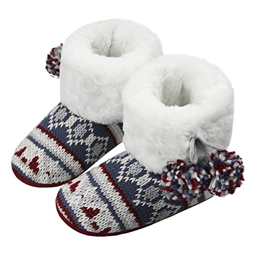 Winter Indoor Slipper Socks, Women Girls Thick Fuzzy Sherpa Fleece Lined Warm Slip on Bootie Slippers Cozy Ankle Snow Boots Knit House Socks Christmas Stockings with Non-Skid Gripper Suede Soles Gift