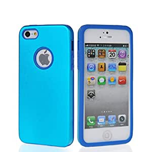 HKCFCASE Hybrid Silicone And Aluminum Metal Back Plate Shell Case Cover For Apple Iphone 5 5G 5th Lightblue