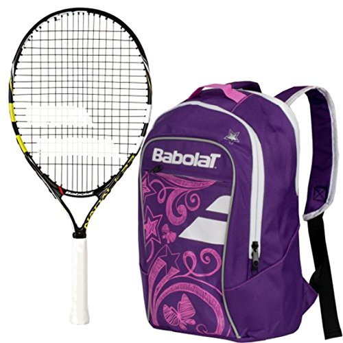 Babolat Nadal Junior 23″ Tennis Racquet (Yellow/Black/White) bundled with Girl's Club Tennis Backpack (Purple)