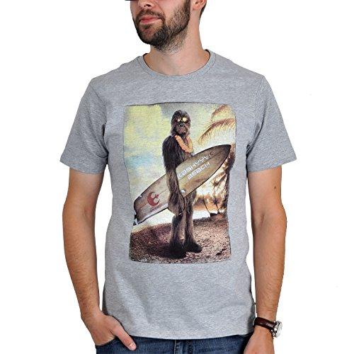 Star Wars Herren Fan T-Shirt Chewbacca - Wookiee on the beach in Grau und Weiß (L, Grau)