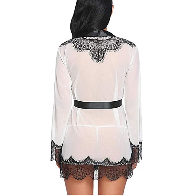 Randolly Womens Lingerie, Ladies Fashion Sexy Lace Patchwork Long Sleeve Nightgown Bath Robe with Belt Dress at Amazon Womens Clothing store: