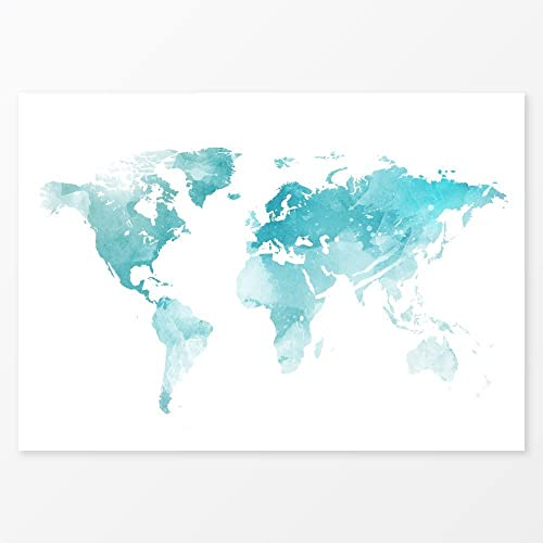 Amazon ice blue world map watercolor decor size 36x24 large ice blue world map watercolor decor size 36x24 large wall decor travel map art gumiabroncs Image collections
