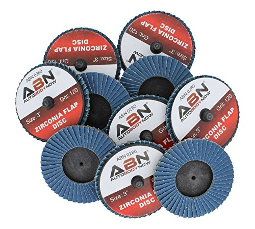 "ABN 3"" T27 120 Grit High Density Zirconia Alumina Flat Flap Disc Roloc Roll Lock Grinding Sanding Sandpaper Wheels 10 PK"