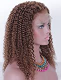 WINBO Brown Color Curly Full Lace Front Wig 8A Brzilian Human Hair 150 Density 360 Lace Wig Baby Hair (16 INCH, FULL LACE WIG)