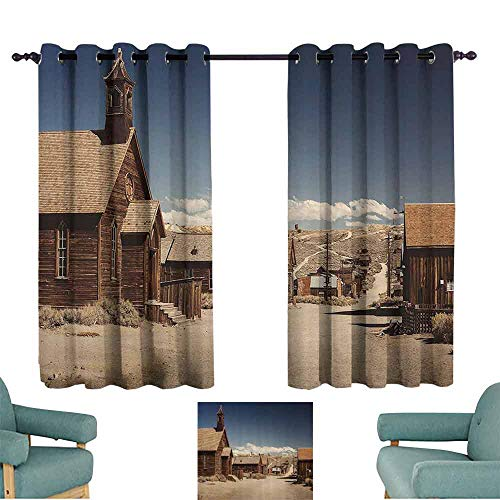 DILITECK Exquisite Curtain Wanderlust Decor Collection Old Looking Empty Streets Abandoned Ghost Town Bodie in California USA Picture Print Thermal Insulated Tie Up Curtain W55 xL39 Ivory Blue