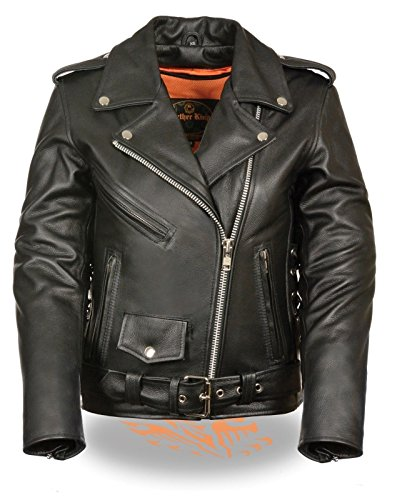 WOMEN'S MOTORCYCLE MOTORBIKE TRADITIONAL POLICE LEATHER FULL LENGTH JACKET (XS (Blk Traditional Mens Jacket)