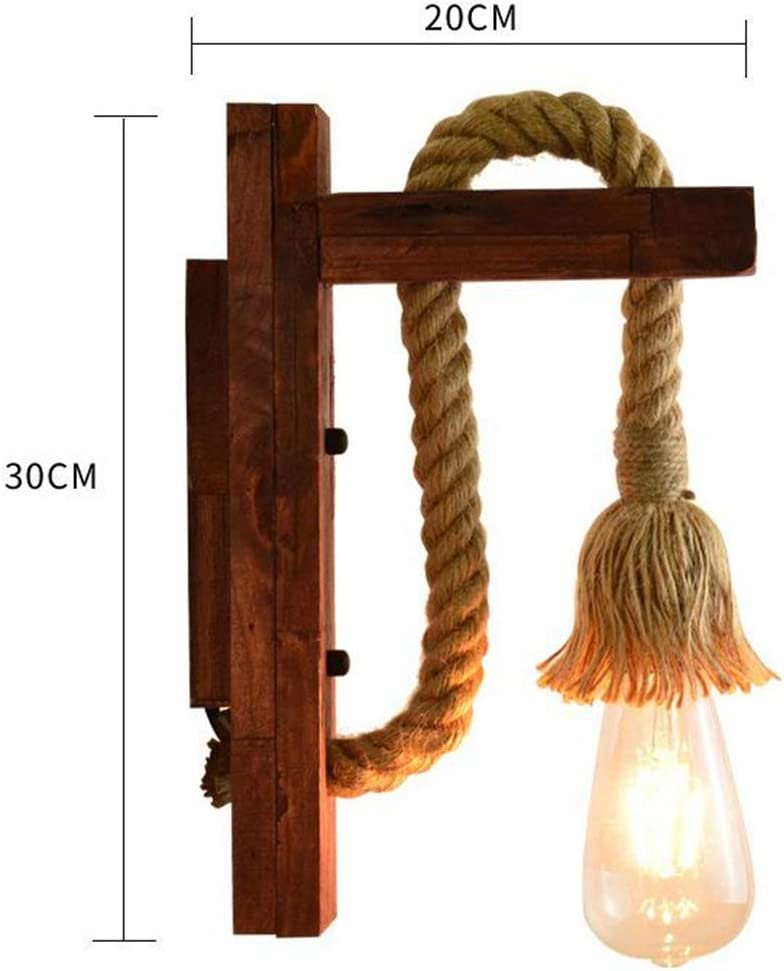 Industrial Wood Iron Hemp Rope Wall Lamp Creative Personality Lift Pulley Wall Lights Fixture for Indoor Lighting Barn Restaurant,1Light