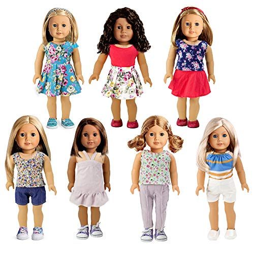 Bili 18 inch Doll Clothes, 7 Outfit Doll Access...