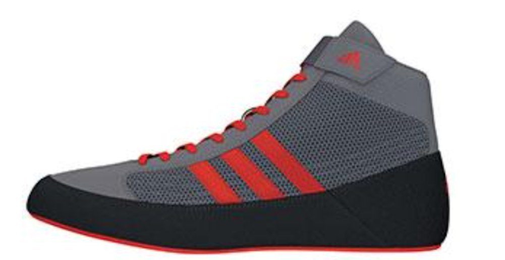 adidas HVC 2 Mens Wrestling Shoes, Grey/Solar Red/Grey, Size 6.5 by adidas