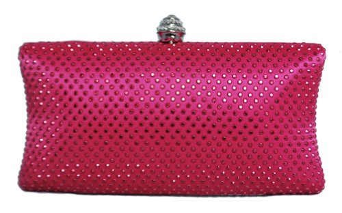 Chicastic Fuchsia Pink Rhinestone Crystal Hard Box Wedding Cocktail Evening Clutch Bag