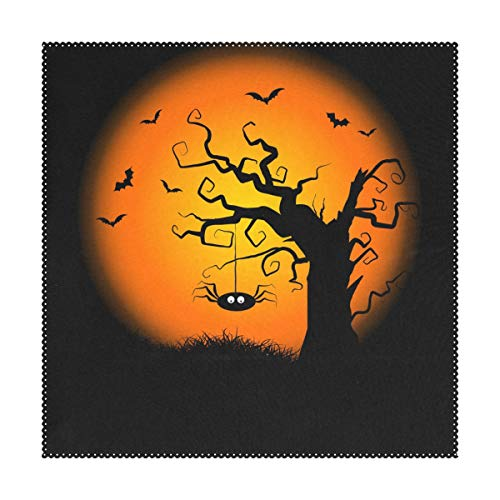 imobaby Spooky Halloween Tree Pattern Print Table Mat 12