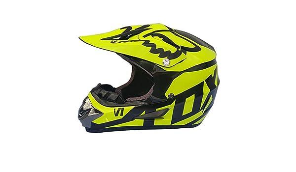 Dabobo Casco de motocross Casco de moto de cara completa Adulto Unisex Bicicleta de monta/ña Dirt Bike Cascos Negro brillante amarillo,XL