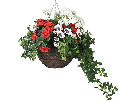 Closer2Nature Artificial Red and White Azalea, Pansy and Geranium Display in a 14