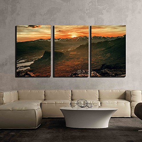 Dramatic Landscape of Mountain under the Sunset x3 Panels