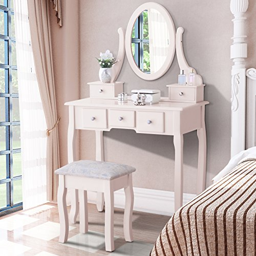 GTM Wood Vanity Table Set Make-up Table with Stool & 5 Drawers,Ivory