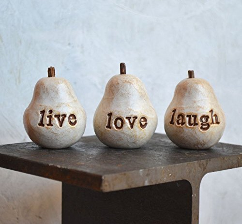 Set of 3 rustic white live love laugh pears // thoughtful stamped text gift (French Pear Country)