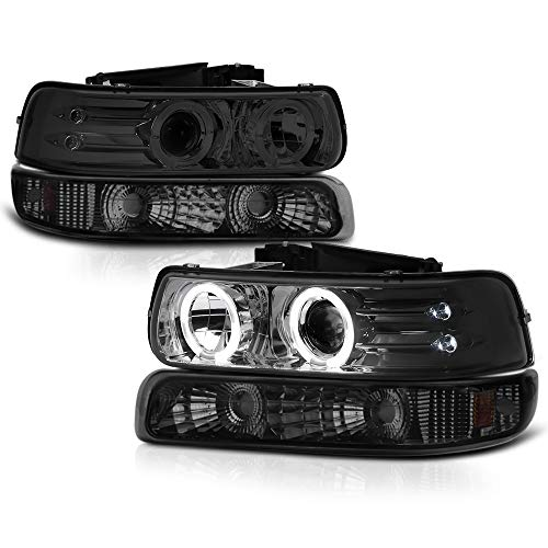 Headlight Signal Led Bumper - VIPMOTOZ Chrome Smoke LED Halo Ring Projector Headlight + Front Bumper Parking Turn Signal Lamp Assembly Replacement For 1999-2002 Chevy Silverado 1500 2500 3500 & 2000-2006 Tahoe Suburban