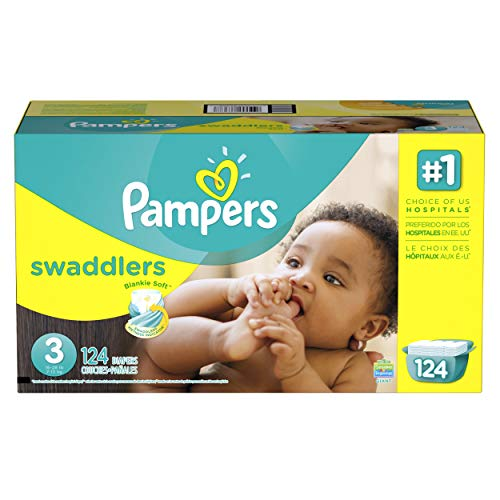 Pampers Swaddlers Disposable Diapers Size 3, 124 Count, GIANT (Packaging May Vary) (Pampers Swaddlers Diapers Size 3 162 Count)