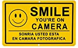 1Pc Eloquent Unique Smile You're on Camera Yard Signs Business Security Window Post Tools House Trespassing Lawn Pole Burglar Indoor Protect Poster Sign Holder Door Sticker Hanger Size 11''x7'' Spanish