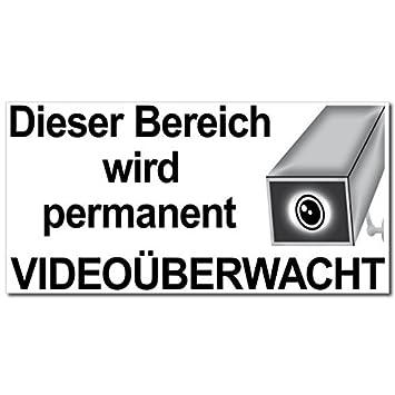 10 Aufkleber Video Alarm Sticker 20cm Dieser Bereich Wird Permanent