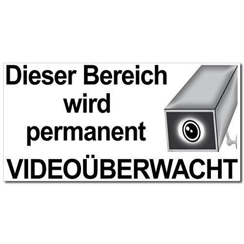 10 Aufkleber Video Alarm Sticker 20cm Dieser Bereich wird permanent 24h cctv Video Monitoring Kamera überwacht gesichert Videoüberwachung
