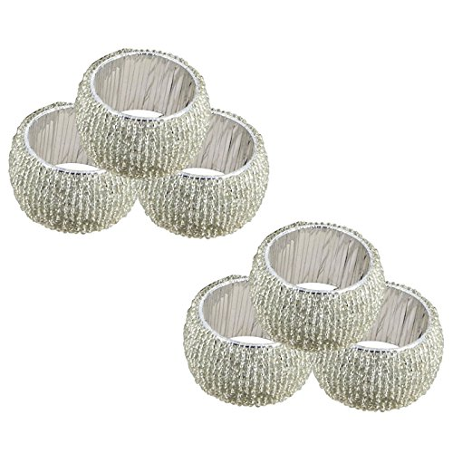 U LOVE IT Beaded Napkin Rings Set of 6 SILVER Decorations Christmas Ornaments, Perfect for Dinners, Parties, Weddings - Artisan Crafted in India - GIFT ITEM