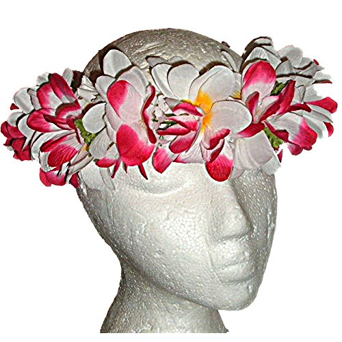Hawaiian Plumeria Leis - HAWAIIAN PLUMERIA PINK & WHITE FLOWERS SILK HAKU HEAD LEI