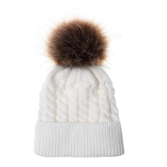 017a63138f9f Rameng- 2Pcs Bonnet Parent Enfant Bonnet Maman Bébe Pompon Tricoté Chapeau  Chaud (Blanc)  Amazon.fr  Vêtements et accessoires