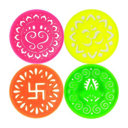 Assorted Small Round Rangoli Stencils Set Bundle with TeaLegacy Sample (4.25 Reusable Template) Om Aum Charan Paduka Diya Jyot Swastik Designs For Diwali Laxmi Puja Floor Decor Mandala Art Decoration