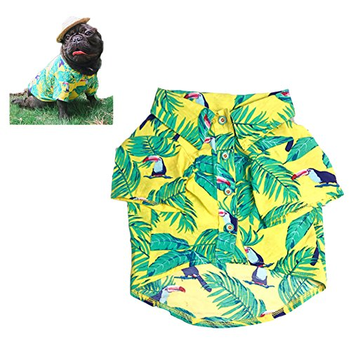 Meioro Pet Clothes Dog Clothes Comfortable Dog Shirt Hawaiian Style Seaside Resort Style Cotton Material Puppy French Bulldog Pug (L, Type-3)]()