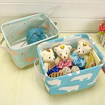 Blue Haodou Storage Box Cotton Linen Fabric Waterproof Storage Bag Polar bear Pattern Storage Basket Portable Storage Box Flexible Toys Childrens Storage Box Desk Beds Boxes