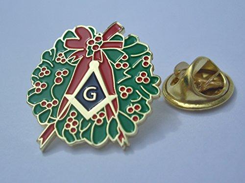 Berry Pin - Masonic Freemason Christmas Holiday Square and Compass Holly Berry Wreath Lapel Pin