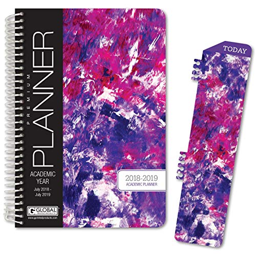 HARDCOVER Academic Year Planner 2018-2019 - 5.5x8 Daily Planner/Weekly Planner/Monthly Planner/Yearly Agenda. Bonus Bookmark (Purple Art)
