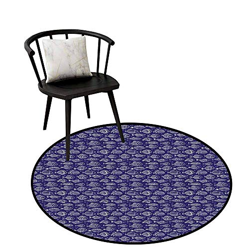 - Super Soft Round Area Rug Fishes,Ornate Doodle Drawing of Animal Kingdom in The Ocean on Bubbles Background,Navy Blue White,for Kitchen Floor Bathroom 35