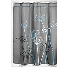 InterDesign Thistle Fabric Shower Curtain, 54 x 78 Inch, Gray/Blue