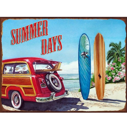 Summer Days Metal Sign: Surfing and Tropical Decor Wall Accent