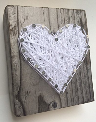 Sweet and small rustic white string art wooden heart block - A unique gift for Mother'sDay, Weddings, Anniversaries, Valentine's Day, Birthdays, Christmas, Sympathy and new baby gift.