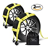 tow hook f250 - Tow Dolly Straps with Flat Hooks & Carrying Bag (2 Pack) - Essential Vehicle Tow Dolly Strap Harness (10.000 lbs Working Capacity) - Universal Tow Dolly Straps System & Flat Hook Design